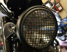 "7.5"" black Mesh Grill Metal Triumph headlight Cafe racer bike bobber Motorcycle"