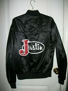 Vintage Justin Boots Lightweight Satin Bomber Jacket Chalk Line USA Sz Large