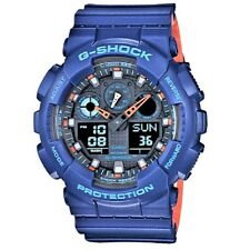Casio G-Shock GA-100L-2A Blue on Orange Men's Digital Analog Sports Watch