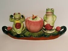 Frogs On Lilypad Condiment Set With Salt And Pepper Shakers