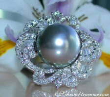 Splendore pieno di 15mm Tahiti perla ANELLO con brillante, 2,80 CT. tw-vs1 wg750 12760,-
