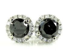 1.35ct 7mm Mens Ladies 14k White Real Gold Black Diamond Halo Earrings Studs