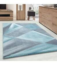 Teppich Modern Designer Geometrische Muster Kurzflor Grau Blau Weiß Meliert