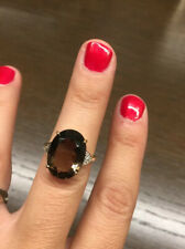 Sz. 6 Smoky Quartz, Diamond & Gold Stunning Oval Cocktail Right Hand Ring Mint