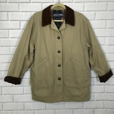 Women's Lands' End Field Barn Coat Jacket Gold Brown Corduroy Collar Large 14-16
