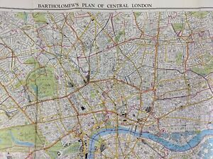 Map Central London BARTHOLOMEW'S Central Area 1920s-30s