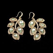 Luxury Sparkling Crystal Glass  Metal Leaf Gold Tone Hook Dangle Earrings Drop