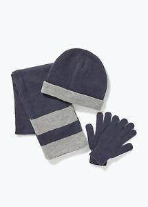 Kids Boys Navy Hat Scarf & Gloves Set (3-13yrs)