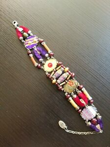Ayala Bar Purples & Reds Fabric Boho Bracelet