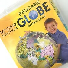 """Jet Creation Inflatable Globe - Political 16"""" Clear"""