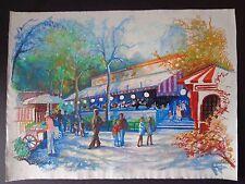 """David Stone Martin, 2 orig pastel drawings 23"""" x 30"""" Philadelphia scenes INV2539"""