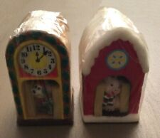 New listing Lot of (2) Snowy Holiday Shelters Candles - Pig in Barn & Mouse in Clock. Nos