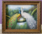 Pair of Peacocks Oil Canvas Painting Stapled to Frame