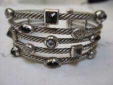 David Yurman 5 Row Sterling Cable Confetti Bracelet Onyx Diamonds Hematine 6 1/4