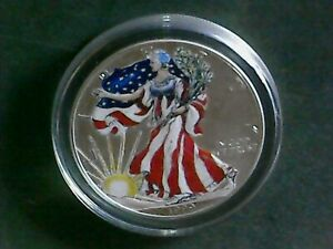 1999 Walking Liberty Silver Dollar [One Ounce Fine Silver] Painted with Case