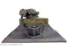 Jugendstil Schreibtisch Garnitur mit nacktem Jüngling - Bronze - 1906 St. Gallen