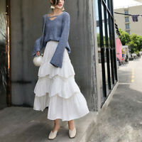Lady Tiered Pleated Long Skirt High Waist A-Line Office Lady Skirts 3 Color Chic