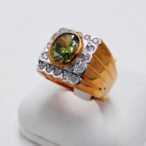 MEN RING PERIDOT 18K ROSE PINK GOLD FILLED GP SOLITAIRE HIPHOP SQUARE CZ SIZE 8