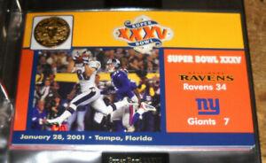 DANBURY MINT SUPER BOWL XXXV FLIP COIN W CARD BALTIMORE RAVENS NEW YORK GIANTS