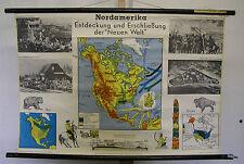 Schulwandkarte Map L'Amérique America Neuf Monde Découvreur Buffle Ours 97x66cm