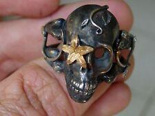 Sterling Silver Men's Ring: Sugar Skull,masonic,handmade Jewelry Biker 925 .999