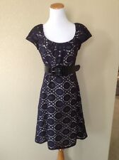 Pre-Owned PHOEBE COUTURE Navy Lace Belted Dress, Size 8