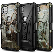 For Motorola One 5G Ace Case, Holster Belt Clip Kickstand Cover + Tempered Glass