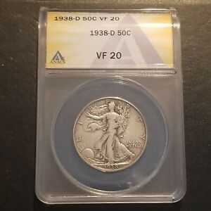 1938 D Walking Liberty Half Dollar ANACS VF 20