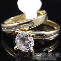 WOMEN'S LADIES 2 PIECE 10K 100% YELLOW GOLD WEDDING ENGAGEMENT BRIDAL RING BAND