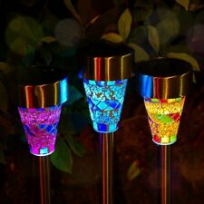 3Pack Outdoor Solar Garden Lights Mosaic Powered Stake Patio Decoration Lampara