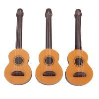 3pcs Miniature Wooden Guitar for 1/12 Dollhouse People Figures Accessories