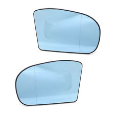 Set of 2 Heated Door Blue Mirror Glass with Plate for Benz C-Class W203 2001-07