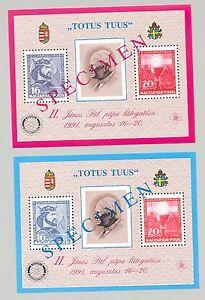 Hungary 1991 Rotary, Pope John Paul II 2v Non Postal S/S o/p Specimen