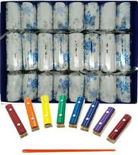 Musical Christmas Crackers with Mini Xylophones - Winter Snowflake Design