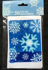 50 x Natale Blu & Bianco Fiocchi di Neve Sacchetti Piccolo Violoncello per Feste