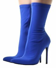 Ladies Nylon Wide LYCRA STRETCH Over The Knee Ankle Mid Calf High Stiletto Boots