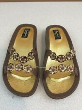 Grandco Slip-On Sandals - Brown & Gold - Size 8