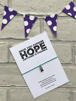 Ribbon Wish bracelet, Cancer Awareness Inspirational Quote Card, Hope Card
