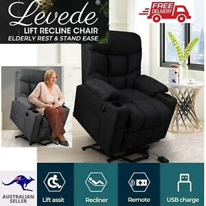 Levede Recliner Chair Electric Easy Lift Armchair Lounge Fabric USB Charger