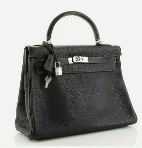 Hermes Kelly 32 Handbag Black Clemence with Palladium Hardware Leather