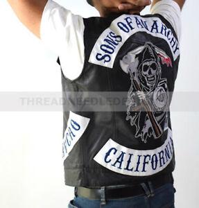 Son Of Anarchy Biker Leather Waistcoat/Vest | Mens SOA Vest For Motorcycle Gangs