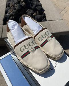 Brand New Authentic Men's Gucci Logo Web Espadrilles Size 10UK/ 10.5US