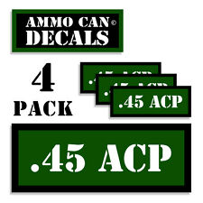 """45 ACP Ammo Can 4x .45 Labels Ammunition Case 3""""x1.15"""" stickers decals 4 pack GR"""