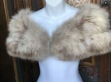 Vintage Beige Fox Fur Stole Bridal Wrap Cape Wedding Shrug