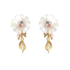 HANABE KOREA Handmade Silver Stud Flower Mother of Pearl Drop Earring White Gold