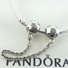 New Authentic Pandora Star Silver Safety Chain Charm # 791782CZ w/Box
