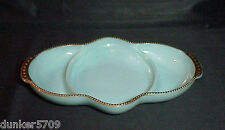 FIRE KING DIVIDED RELISH DISH DELPHITE BLUE AQUA TURQUOISE GOLD TRIM 1960