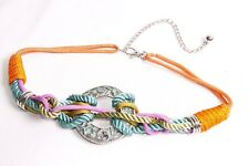 Interesting Women Multicolored Ropes Waist Belt w Antique Turquoise Circle(S406)