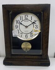 Seiko Mantle Clock With Pendulum In Dark Wood With 12 Hi-Fi Melodies Qxw233Blh