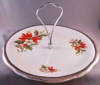 Royal Winton Christmas Poinsettia Round Plate w/ Centre Handle - 10 in. -England